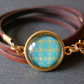 Leather Wrap Bracelet abstract pattern in gold turquoise