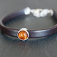 Amber Sterling Silver Leather Bracelet dark brown