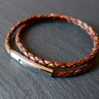 Braided leather wrap bracelet brown silver stainless steel bayonet clasp