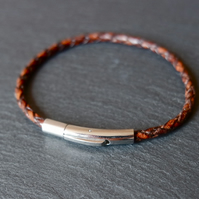 Braided leather bracelet brown silver stainless steel bayonet lock