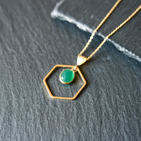 Green Onyx Hexagon Necklace - 925 Silver gold plated