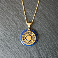 Blue Enamel Mandala Necklace - Gold Vermeil 925 Sterling Silver