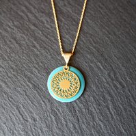 Turquoise Enamel Mandala Necklace - Gold Vermeil 925 Sterling Silver