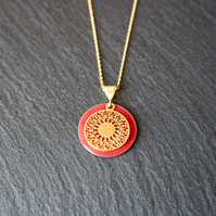 Red Enamel Mandala Necklace - Gold Vermeil 925 Sterling Silver