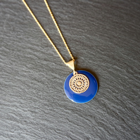 Blue Enamel Disk Small Mandala Necklace - Gold Vermeil 925 Sterling Silver