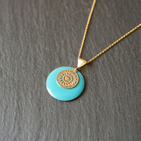 Small Turquoise Enamel Mandala Necklace - Gold Vermeil 925 Sterling Silver