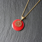 Small Red Enamel Mandala Necklace - Gold Vermeil 925 Sterling Silver