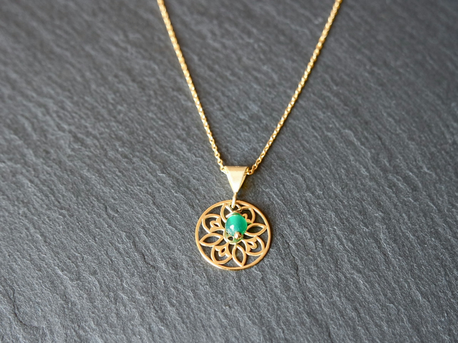 Green Onyx Mandala Necklace - 925 Silver gold plated