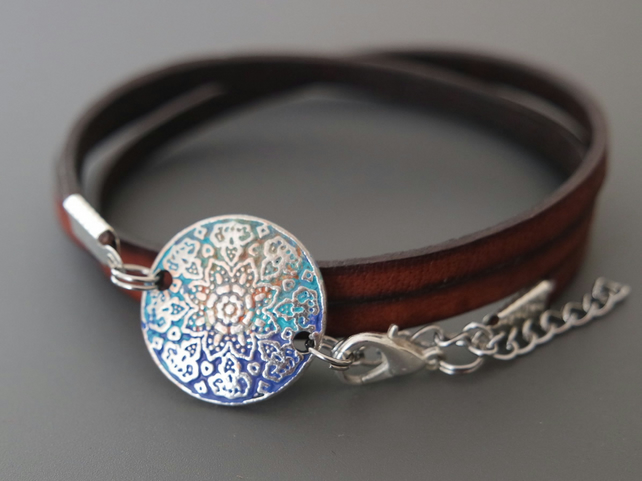 Mandala Leather Wrap Bracelet blue, orange, turquoise