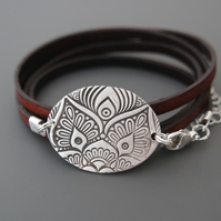 Owl Mandala Bracelet - Fine Silver Leather Wrap