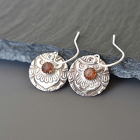 Sunstone Fine Silver Earrings, Ornaments - Heirloom Collection