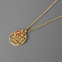 Garnet Birthstone gold plated 925 Sterling Silver Mandala Necklace
