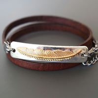 Leather wrap bracelet - feather silver gold plated rectangular