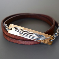 Leather wrap bracelet - feather gold silver plated rectangular