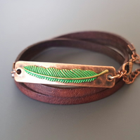 Leather wrap bracelet - feather patina green copper plated rectangular