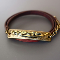 Leather wrap bracelet - feather antique gold bronze plated rectangular