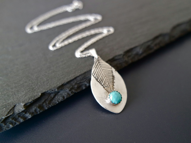 Turquoise feather leaf silver necklace, silver clay, sterling silver