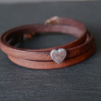 Leather wrap bracelet - Heart slider brown copper patina-blue