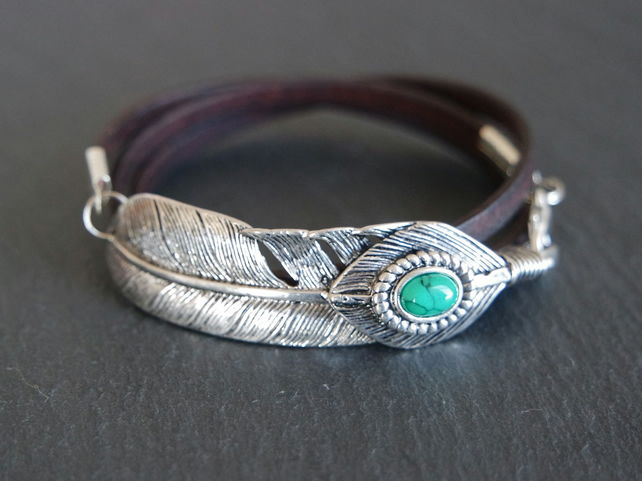Leather wrap bracelet - feather and turquoise coloured stone