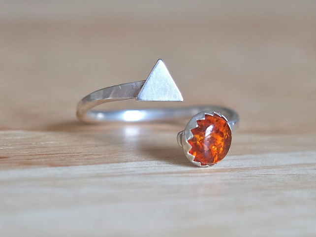 Amber silver ring, triangle open adjustable ring, gold brown baltic