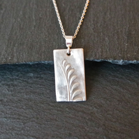 Flower Twig Silver Necklace - abstract rectangular Silver Clay