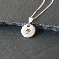 Personalized intial silver necklace, name charm, letter necklace