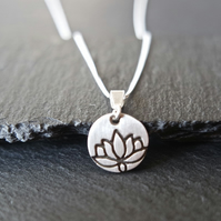 Lotus Flower Silver Necklace - Silver Clay 925 Sterling Silver little flower