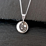 Moon and Stars Silver Necklace - Silver Clay 925 Sterling Silver night sky celes