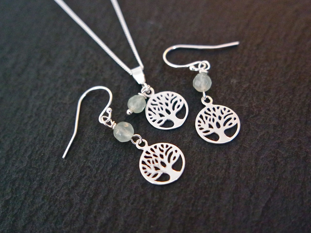 Tree of life Silver Set Earring and Necklace - Aventurine Gemstone