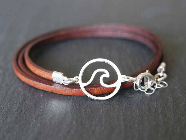 Ocean wave silver bracelet leather wrap 925 sterling silver