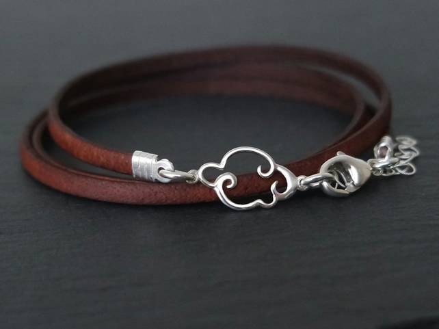 Cloud silver bracelet leather wrap 925 sterling silver clouds sky nature