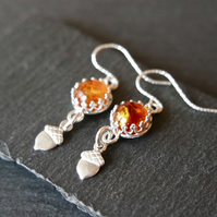 Amber Acorn Silver Earrings - Autumn Fall Sterling Silver Gemstone dangles
