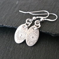Oval silver earrings with sun pure silver clay sterling silver