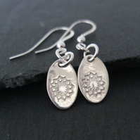 Oval silver earrings with a flower pattern pure silver clay sterling silver