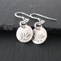 Lotus silver earrings flower pure silver clay sterling silver