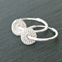 Sterling Silver Hoops - mandala rounds circle disc pure silver