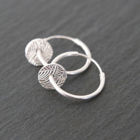 Sterling Silver Hoops - abstract pattern leaf rounds discs circle pure silver