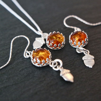 Amber Acorn Silver Set Earring and Necklace - Autumn Fall Gemstones