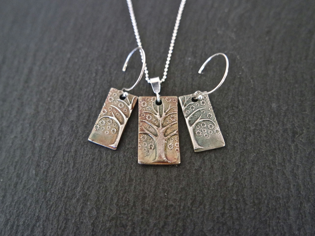 Tree of Life earring necklace set, oxidized in different colour