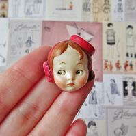 Handmade Doll Face Brooch - Bell Girl Judy
