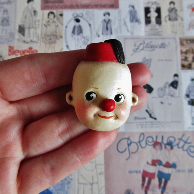 Dottie's Doll Face Brooch - Cutie the Kewpie Clown in a Fez Brooch