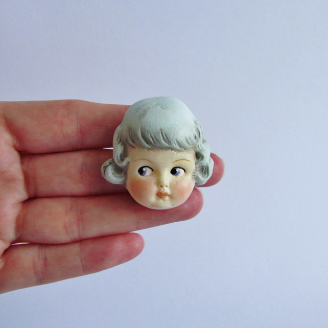 Vintage Doll Pin Brooch - Mint Haired Rose