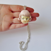 Vintage Doll Face  Pendant - Pink Haired Rose