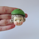 Dottie Dollie Pin Brooch - Rose with a Green Beret