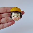 Dottie Dollie Pin Brooch - Rose with a Yellow Beret