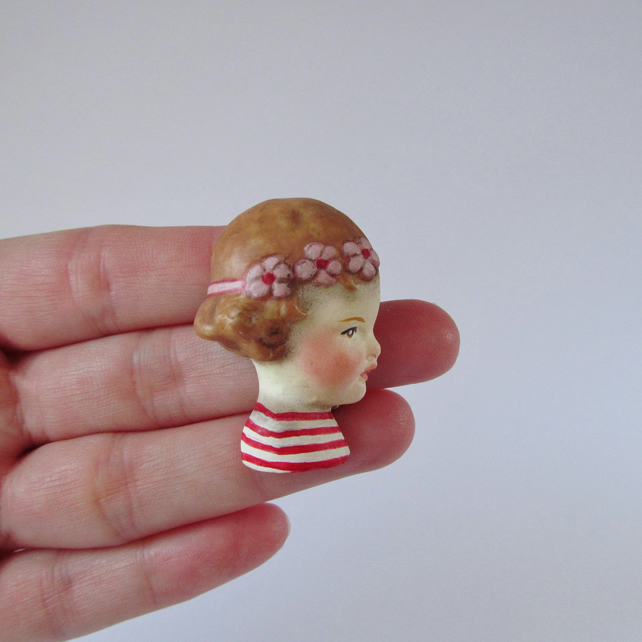 Handmade Doll Brooch Fleur - Red Breton Girl Pin