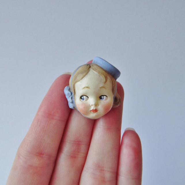 Dottie Dollie Doll Face Brooch - Bell Girl Judy