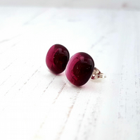 Cranberry Pink Fused Glass Stud Earrings