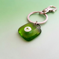 Lime Green Fused Glass Keyring
