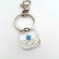 Clear Fused Glass Keyring